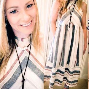 Chevron Striped Midi Dress